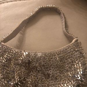 Silver beaded fancy/funky purse